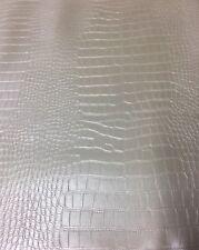 Kunstleder Meterware KROKO Krokodil Optik Weiss Metallic 150cm breit 1,60mmStark