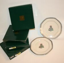 "Christmas Tree Plate 9"" Mikasa Silver Red Green L3276 Palatial Platinum  Lot (8)"