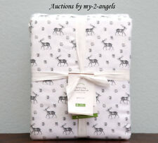 Pottery Barn Snowy Stag Organic Flannel Queen Sheet Set Christmas Wintr Reindeer
