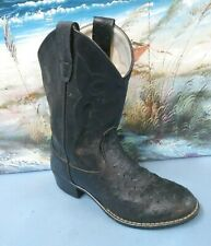 Old West Or9110 Black Faux Ostrich Western Cowboy Boot Childrens Unisex Size 13.