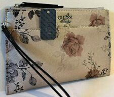 NWT GUESS MISAY WRISTLET BAG Floral Logo Clutch Pouch Handbag Wallet GENUINE