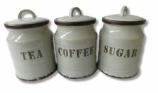 French Country Kitchen Canisters Stone Grey TEA, COFFEE, SUGAR with Seals Set...