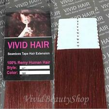 20pcs 22 inches Remy Seamless PU Tape Skin Weft Human Hair Extensions Dark RED