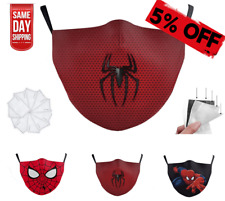 Spiderman Reusable Face Mask Washable with Filters Cotton Marvel Superhero