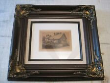 """Charles Dickens """"Ann Hathaway""""s Cottage"""" signed 3.5 X 5.5"""" Etching art print"""