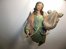 Antique Italian CARTAPESTA Angel HARP Paper Mache Christmas Ornament
