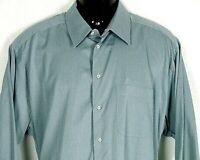 Armani Collezioni Mens Cotton Long Sleeve Shirt US18 45 L Blue Gray Stripe Italy
