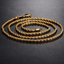 """New Fashion Womens Mens 24K Gold Filled Rope long Necklace 23.6"""" Lot"""