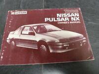 1988 Nissan Pulsar NX Hatchback Owner Owner's Manual User Guide XE SE Sportback