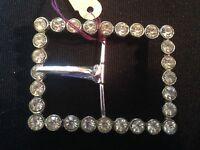 vintage rhinestone belt buckle,oblong,clear rhinestone crystals