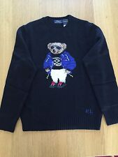 $395 NWT- POLO RALPH LAUREN- Black Polo Teddy Bear Ski Sweater Wool Blend -Small