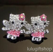 HelloKitty CAT ANGEL STUDS EARRINGS USE SWAROVSKI CRYSTALS 18K WHITE GOLD PLATED