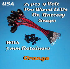25 PRE WIRED 5MM LEDs 9 VOLT ORANGE LED ON BATTERY SNAP 9V PREWIRED (Halloween)