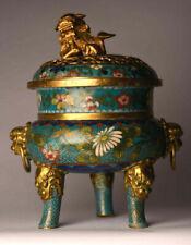 Antiker Weihrauchbrenner China 19 Jhd. Bronze Gold Cloisonne 19 cm antique  B70a