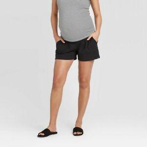 Maternity Twill Pull-On Shorts - Isabel Maternity by Ingrid & Isabel Black XXL