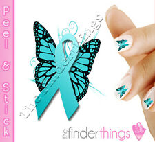 Ovarian Cancer Awareness Butterfly Nail Decal Sticker Set BFY151