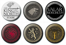 New Game of Thrones button Pin Badges Stark Lannister Targaryen Greyjoy HBO UK