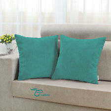 Pack of 2 Cushion Throw Pillow Covers Home Sofa Corduroy Stripes 45 X 45cm Teal