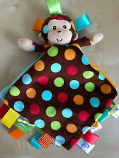 Monkey Dazzle Dots Mary Meyer Taggies Baby Blue Yellow Brown Security Blanket