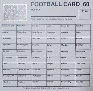 25 x 60 Team football scratch cards UK team names FUNDRAISING IDEAS