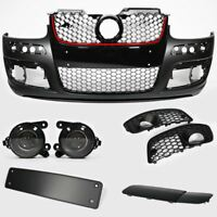 VW Golf MK5 03-09 Front Bumper Red Trim Grille Fog Lights Fittings Set GTI Look