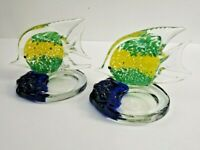 Hand Blown Pair of Art Glass Candle Holders Fish Cobalt Blue Murano Style Glass