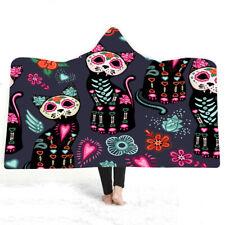Gothic Cool Halloween Skull Cat Forest Fleece Hooded Blanket Cloak Sofa Throw