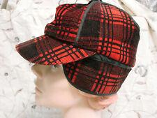 Vintage 60s Hunter Hat Cap Visor Red Plaid Corduroy S Hercules