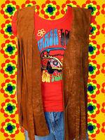 38✪ Hippie Woodstock Damen Fransen Weste 70er Jahre Easy Rider braun Gr. 36 - 38