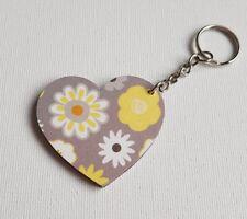 Handmade Wooden Heart Keyring Keychain Retro Grey & Yellow Floral Print
