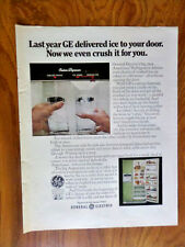 1970 GE General Electric Refrigerator Ad Crush Ice to Your Door the Americana
