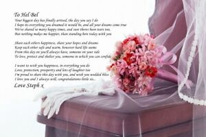 PERSONALISED POEM TO MY SISTER MY WEDDING POEM IDEAL TO FRAME A4