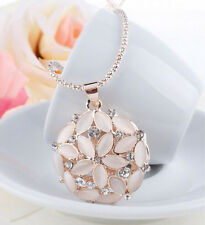 New Austrian Crystal Rhinestone 3D Opal Flower Long Necklace Mg Pendant Chain