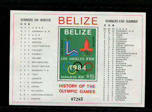 Belize 1981 Scott 561-2 1984 Los Angeles and Sarajevo Olympics Souvenir Sheets