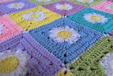 DAISY Pastel HandMade Crochet Oblong Blanket Throw Girls Cot Toddler