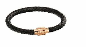 Fred Bennett Mens Black Leather Bracelet with Rose Gold Plated Stainless Steel