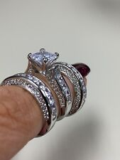 Spectacular Victoria Wieck 14KT White gold filled 3 pc Ring set Size 8
