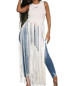 Women Sleeveless Tassel Casual Solid Summer Sexy Nightclub Long Blouse Shirt Top