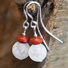 925 Silber Ohrhaken mit Bergkristall & Roter Schaumkoralle, Ohrringe, Ohrhänger