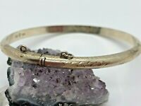 SAI Vintage Sterling Silver Etched Hollow Hinged Bangle Bracelet 6.2 Grams