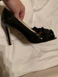 Enzo Angiolini Women's Eamielee Black Patent Open Toe Ruffled Heels Sz 7.5 Shoes