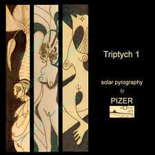 "Stunning Solar Art Pyrography ~ Triptych ~ Large 17""W x 31""H High Res Print"