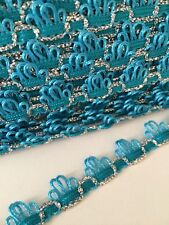 Turquoise Blue & Silver Sparkle Braid Trim 15mm By The Meter