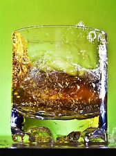 WHISKEY BAR DRINK GLASS ALCOHOL HIGH SPEED GREEN PHOTO ART PRINT POSTER BMP927A