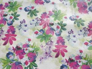 calfskin leather hide skin Vintage Multicolored Floral Print on White