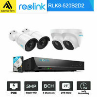 Reolink 5MP 1920P POE Security Camera System NVR Kt 2TB HDD Outdoor RLK8-520B2D2