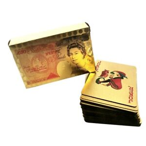 New 50 Pound Gold Card Playing Cards Deck Poker Waterproof Game uk stock