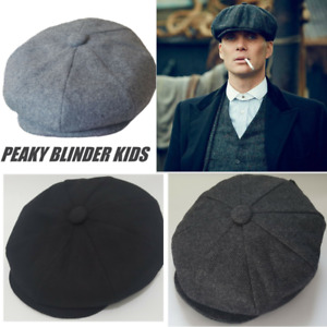 Peaky Blinders Children's Newsboy Hat Gatsby Cap Flat Baker Boy Kids herringbone