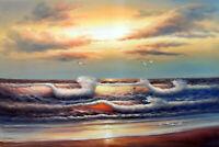 Hawaii Caribbean Sunrise Beach Gulls Bold Bright Oil Painting 24 X36 STRETCHED