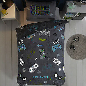 New Glow In The Dark Grey Single Duvet Set - Game Over